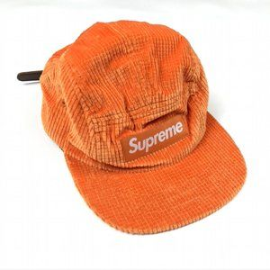 Supreme Camp Hat Corduroy 5 Panel Orange Leather